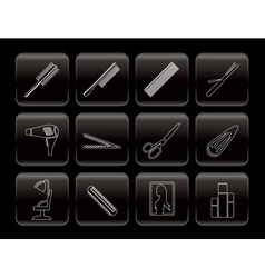 line hairdressing and make-up icons vector image