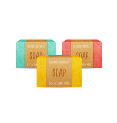 Natural handmade soap bars vector