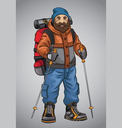 Old man hiking vector