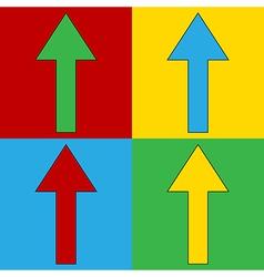 Pop art arrow straight symbol icons vector