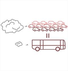 Public transportation vs private transportation vector
