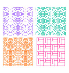 Seamless line pattern in modern chinese style vector