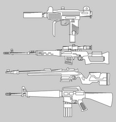 set automatic firearms pistol rifle machine vector image vector image