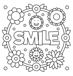 Smiling coloring pages ~ Choose kindness coloring page Royalty Free Vector Image