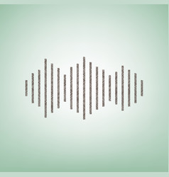 Sound waves icon brown flax icon on green vector