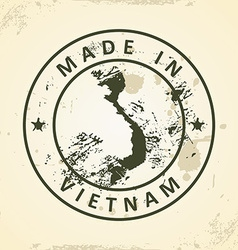 Stamp with map of vietnam vector