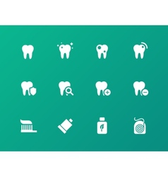 Tooth teeth icons on green background vector