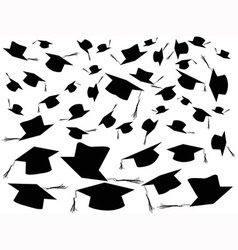 Tossing graduation caps background vector image vector image