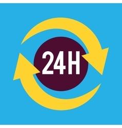 Twenty four hours service icon vector