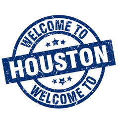 Welcome to houston blue stamp vector