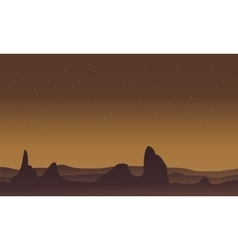 Silhouette of desert and rock scenery vector