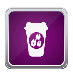 Purple emblem coffee espresso icon vector