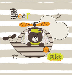 with cute pilot bear vector image