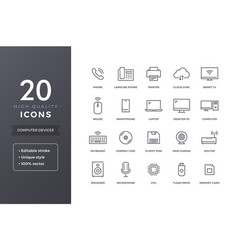 Computer electronics line icons vector