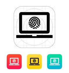 Laptop fingerprint icon vector