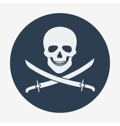 Pirate flag icon jolly roger skull and sabers vector image