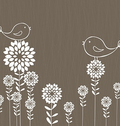 Retro background with birds and flowers vector