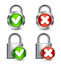 Metal padlocks with check marks vector