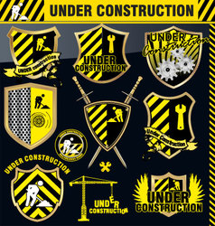 Under construction shield - set vector