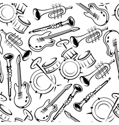 Musical instruments retro seamless pattern vector
