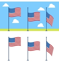 Flat usa flags set vector