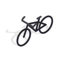 Black bike icon isometric 3d style vector
