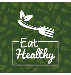 Leaf and fork icon natural and organic product vector
