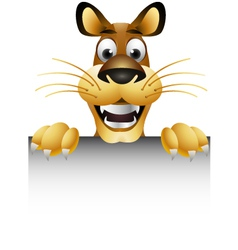 Skinny cute cartoon lion with blank sign vector