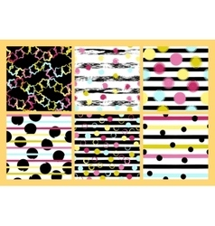Set of 6 cute different seamless patterns vector