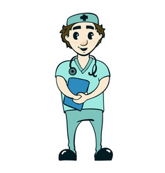 a smiling doctor vector image