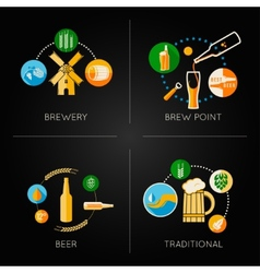 Beer set flat icons vector