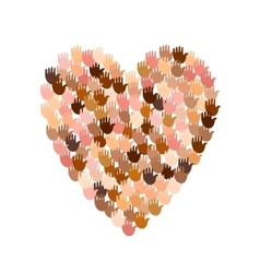 big heart shape filled with hands vector image