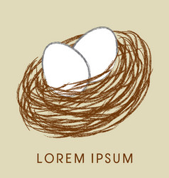 Bird nest and eggs icon vector