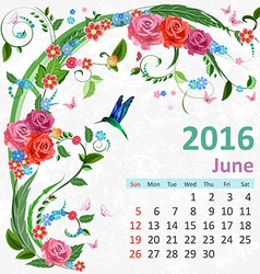 Calendar for 2016 June vector image vector image