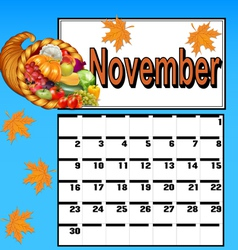 calendar for November with Thanksgiving vector image
