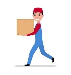 cartoon delivery man with cardboard box vector image vector image