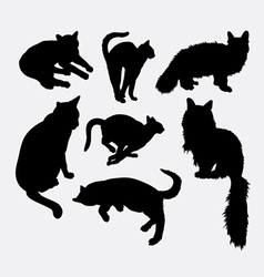 Cat pet animal activity silhouette vector image vector image