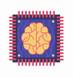 Chip with brain symbol vector