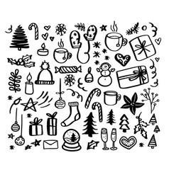 Christmas doodles hand drawn xmas vector