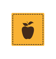 Color emblem apple fruit icon vector