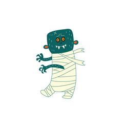 Flat halloween walking zombie vector