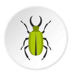 green bug icon circle vector image