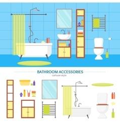Interior classic bathroom and elements set vector