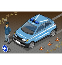 Isometric italian police car vector