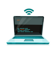 laptop icon with free wi-fi vector image vector image