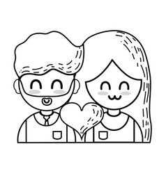 Line couple with beauty relation ships and heart vector
