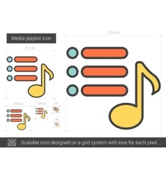 Media playlist line icon vector