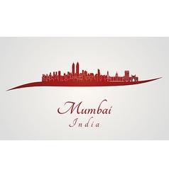 Mumbai skyline in red vector