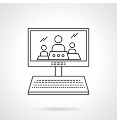 Online lecture flat line icon vector image vector image