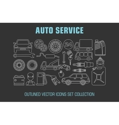 Outline set auto service icons vector image